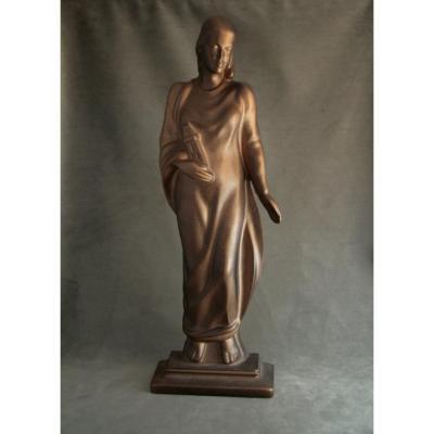 Sainte-Barbe, fonte de fer patinée vieux bronze, vers 1930
