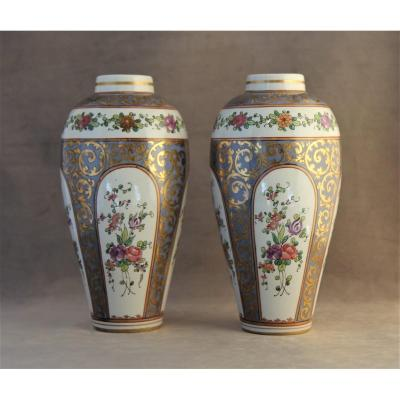 Pair Of Samson Porcelain Jugs, Sold By Majorelle