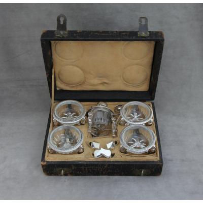 Sterling Silver Condiment Set, 1st Empire Period, In Its Original Case