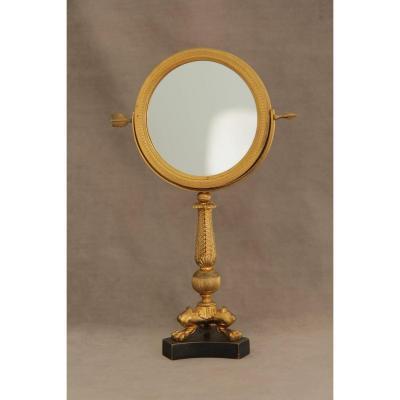 Miroir de table en bronze doré, époque Empire - Restauration