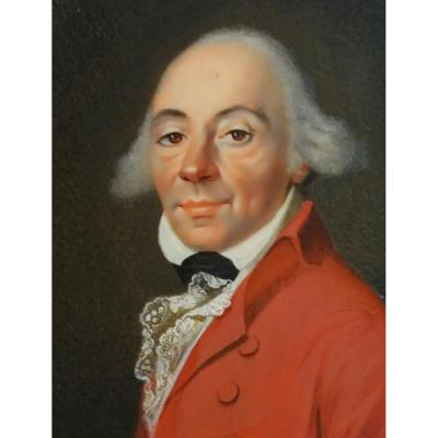 Miniature On Ivory. Portrait Of A Man In A Red Coat, English School (?) Circa 1800