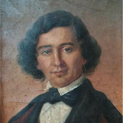 Small Portrait Of A Man, Oil On Cardboard, Around 1850