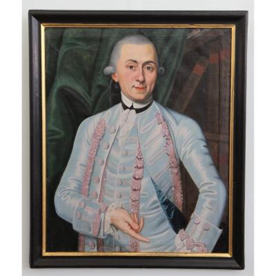 Portrait Of A Man, Oil On Canvas In Its Original Frame, Switzerland Mid-18th Century