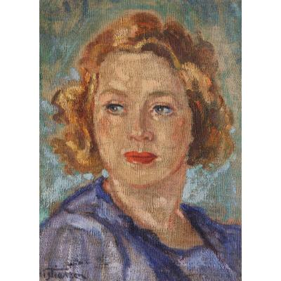 Olaf Christiansen (1901-1990) - Portrait de femme - Huile sur toile, 1945