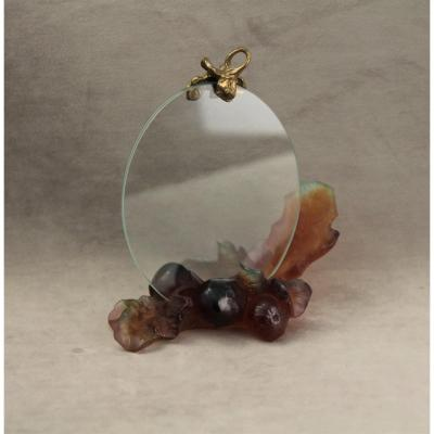 "Daum - Glass Paste Photo Holder, ""figues"" Collection, Circa 1980"