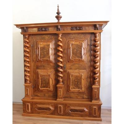 Important Cabinet With Three Twisted Columns, Basel, Switzerland, Late 17th Century