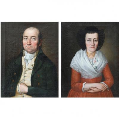 Paire de portraits, huile/toile, école suisse [sans doute Berne], fin du XVIIIe - début du XIXe