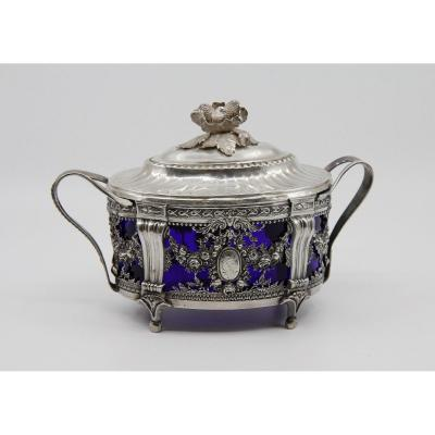 Sugar Bowl In Solid Silver & Blue Glass, Louis-joseph Milleraud-bouty, Paris 1782