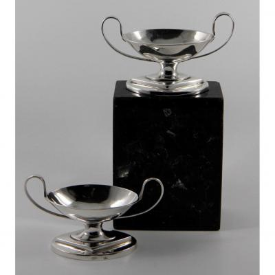 Pair Of Neoclassical Silver Salt Cellars, Late 18th Century - Early 19th Century