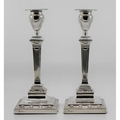 A Pair Of Late Victorian Silver Candlesticks, Hawksworth, Eyre & Co. Ltd., Sheffield 1899