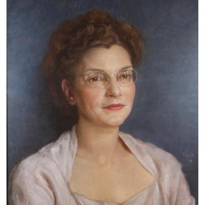 François de RIBAUPIERRE (1886-1981), Portrait de femme, pastel signé et daté 1949