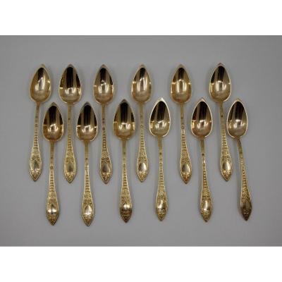 12 cuillères à thé en vermeil dans leur écrin d'origine, J.-B. Landry, Paris entre 1826 et 1833