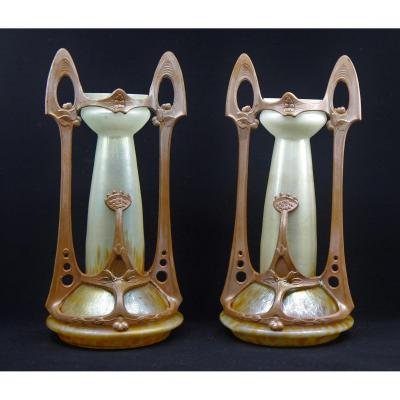 Ferdinand Von Poschinger (1867-1921). Pair Of Art Nouveau Mounted Vases, Germany Circa 1900