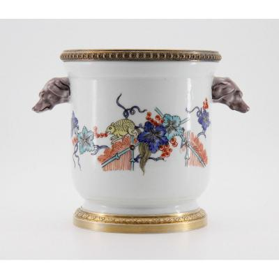 18th Century Style Cooling Bucket, Chantilly Porcelain Mounted In Vermeil, Late 19th Century