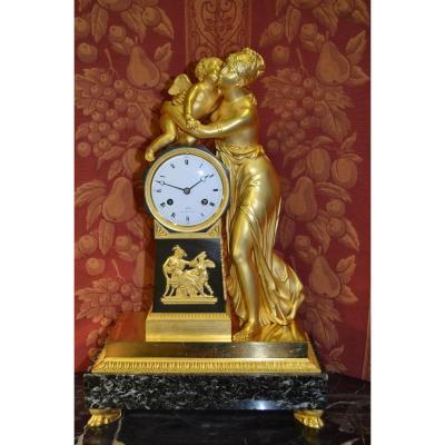 """Pendule Empire 1805 Du Bronzier Galle A Paris """" Allegorie De l'Amour """" Ht 48"""