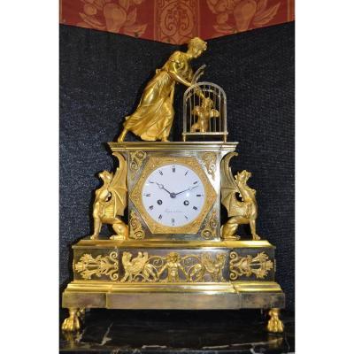 Pendule Bronze d'Epoque Empire , Faizan A Paris , Ht 55.