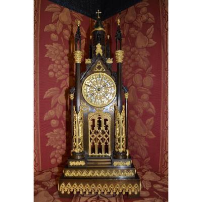 "Gothic Pendulum ""a La Cathedrale"" Around 1840, Ht 54."