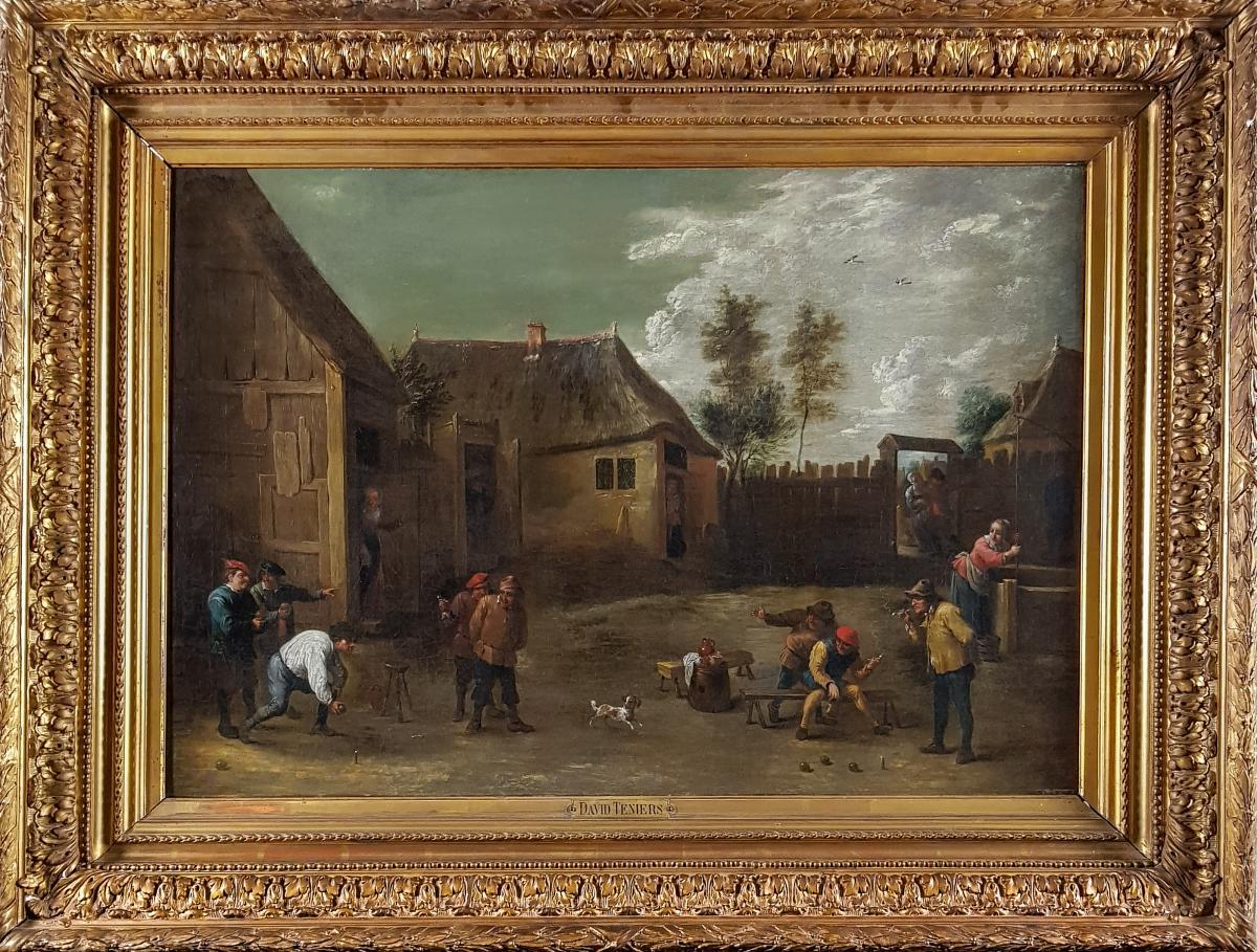 Paysans Jouant Aux Boules, école Flamande, XVIIIe Siècle