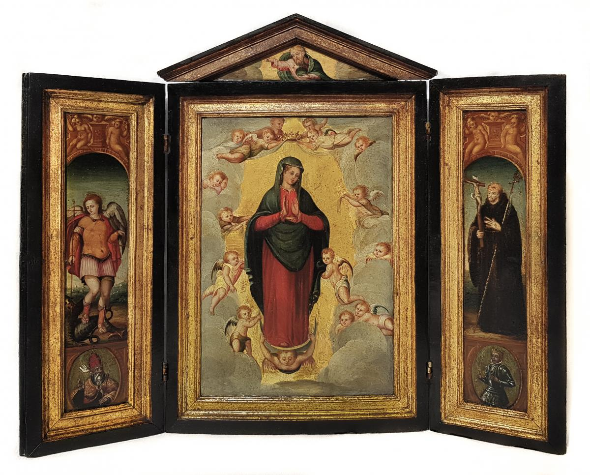 Triptych Of Christ, The Madonna, St Michael, And Saint Francis 18th Century Spanish