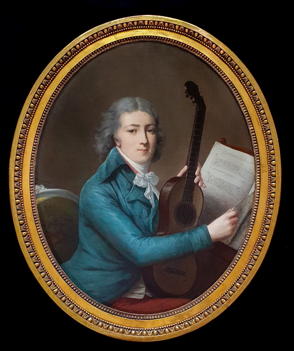 Portrait Of A Gentleman With An Early Guitar C.1795; Circle Of Antoine Vestier (1740–1824)