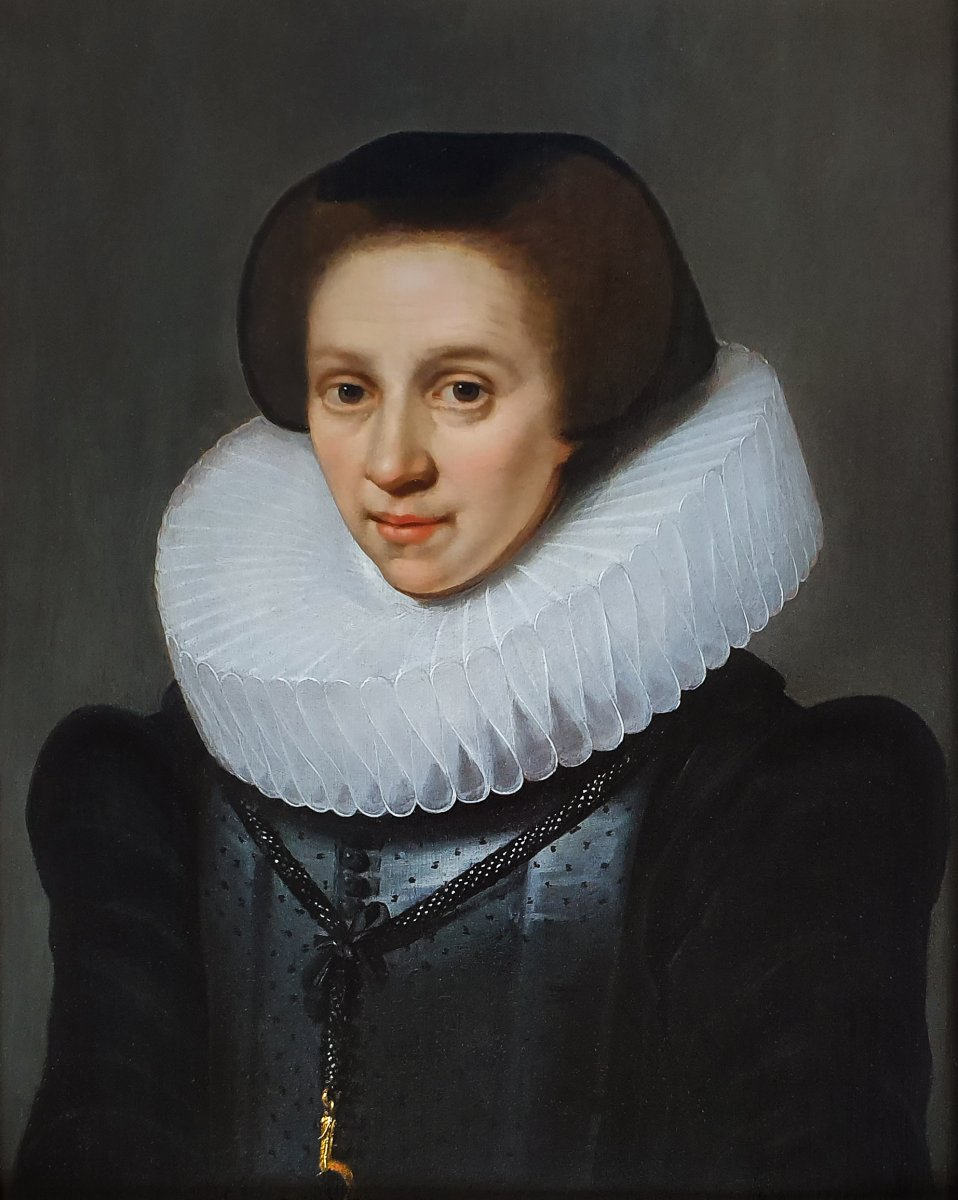 Vers 1620 Portrait d'Une Dame; Attribué à Michiel Jansz Van Mierevelt (1567-1641)-photo-2
