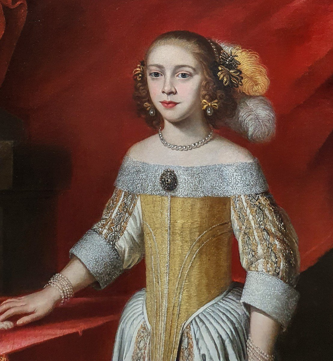 Portrait Of A Young Lady In An Interior With A Pet Dog, Circa 1650-60, Antique Oil Painting