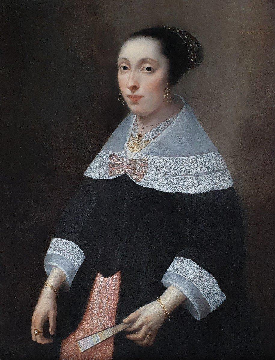 Portrait d'Une Dame à l'éventail Vers 1656, Peinture Ancienne-photo-2