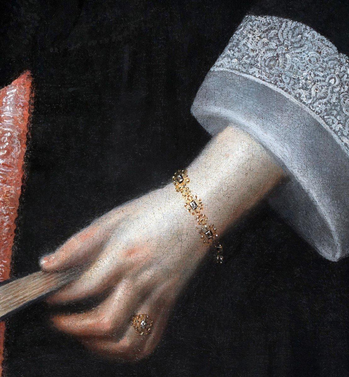 Portrait d'Une Dame à l'éventail Vers 1656, Peinture Ancienne-photo-3