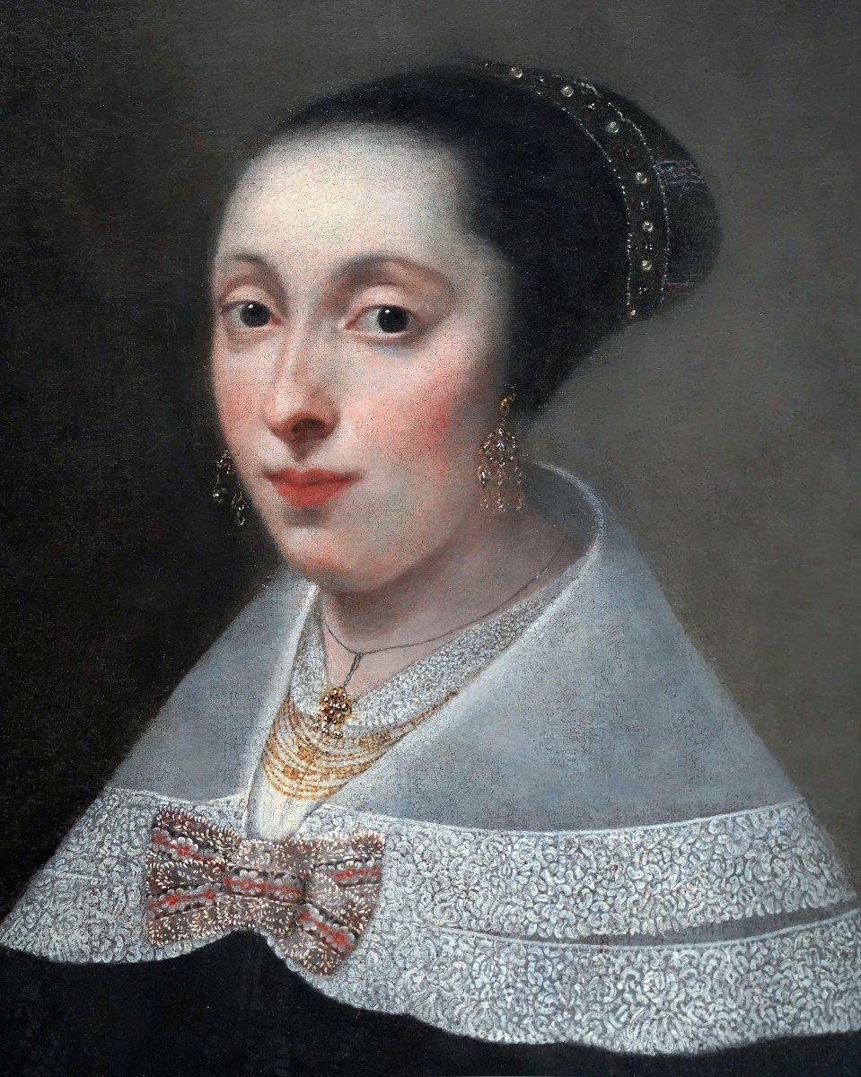 Portrait d'Une Dame à l'éventail Vers 1656, Peinture Ancienne-photo-4