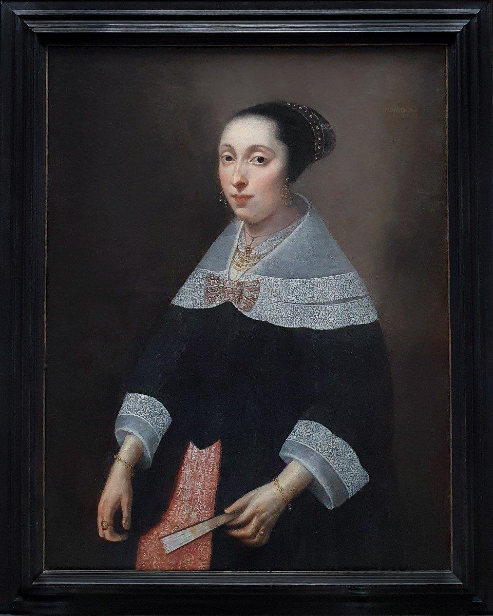Portrait d'Une Dame à l'éventail Vers 1656, Peinture Ancienne