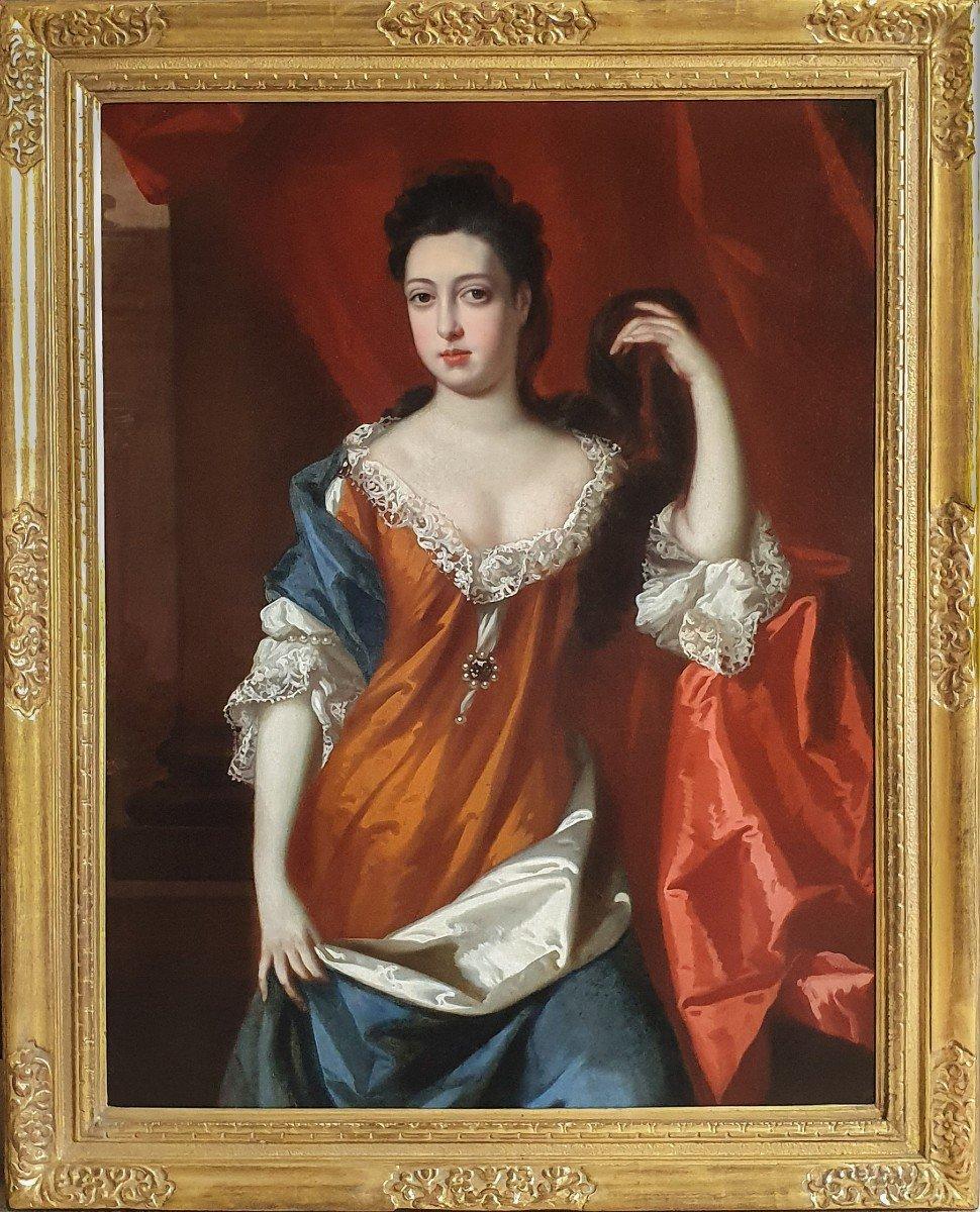 Portrait d'Une Dame Dans Un Intérieur Vers 1692, Peinture à l'Huile Ancienne