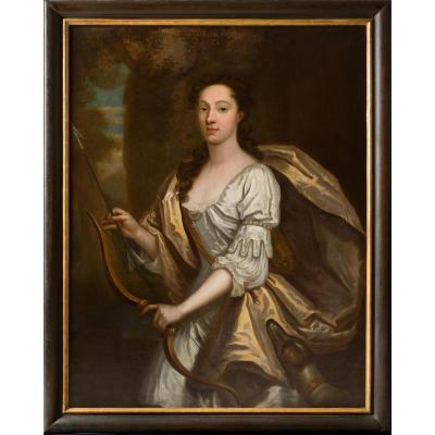 Portrait Circa 1700 Anglais Splendide D'une Dame Telle La Déesse Diana