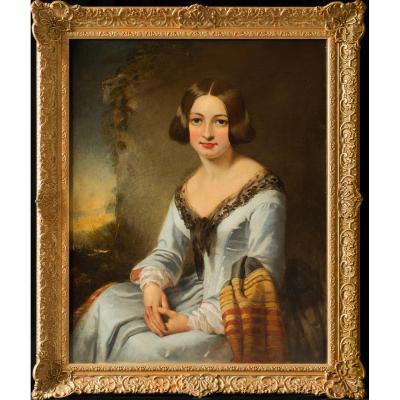 Grand Portrait Du 19e Siècle D'une Jeune Femme