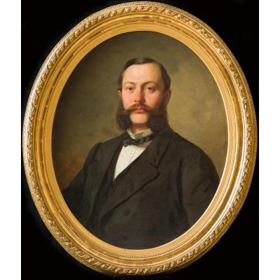 Fine Large Signed & Dated 1869 Portrait Of A Gentleman
