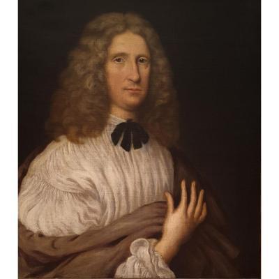 Grand Portrait Anglais « Vieux Maitre » D'un Gentilhomme, 17e Siècle