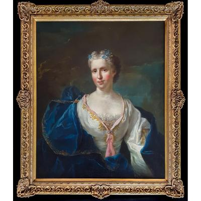Grand Et Beau Portrait Français Du XVIIIe Siècle D'une Femme, Provenance Château