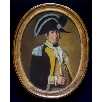 Portrait D'un Officier, École Française Du 18e Siècle