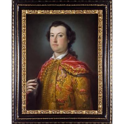 Portrait Of A Gentleman Délicat Vieux Maître Italien Du 18e Siècle
