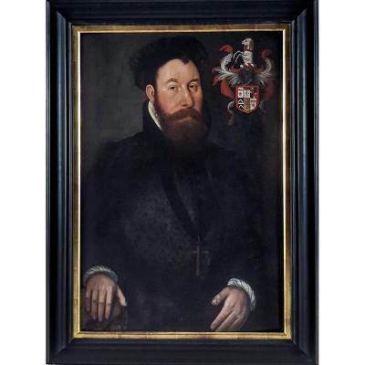 Circa 1550 Portrait Of A Gentleman Avec Armoiries, Huile Sur Panneau