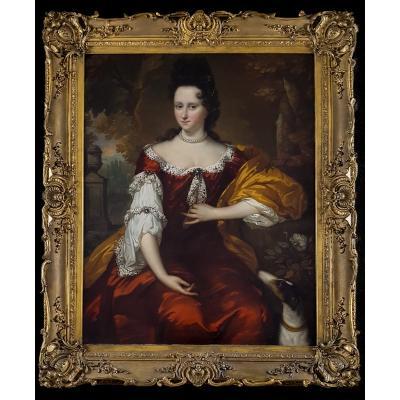 Portrait Of A Lady Vieux Maître Néerlandais Signé Et Daté De 1693