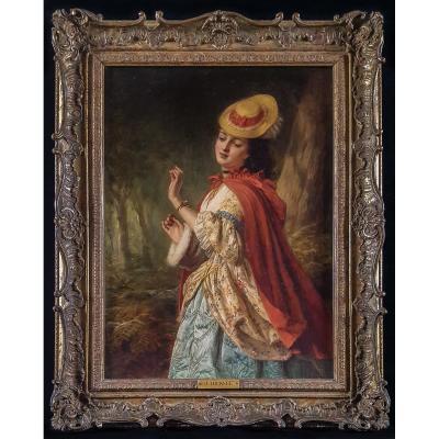 19e Siècle Portrait Of A Lady Signé Et Daté De 1876