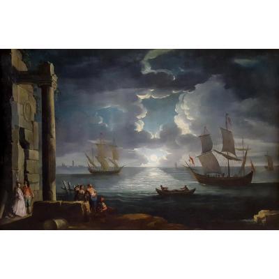 A Mediteranean Moonlit Bay, Italy 18th Century; Studio Of Leonardo Coccorante (1680–1750)