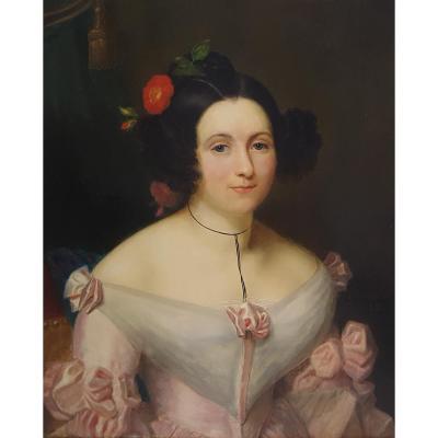 Portrait De Femme, Français, Signé Et Datant De 1838