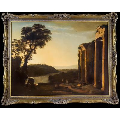 Capriccio With Figures In A Landscape, 18th Century Follower Of Claude Lorrain (c.1600-1682)