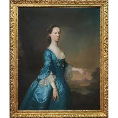 Portrait d'Hannah Maria Offley Signé Et Daté 1757