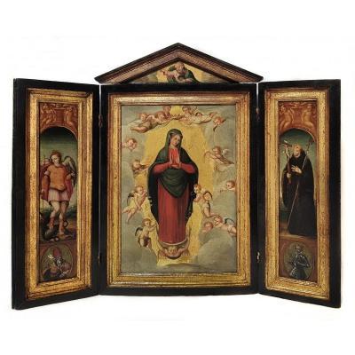 Triptyque Du Christ, La Vierge Marie, Saint Michel Et Saint François, XVIIIe Siècle