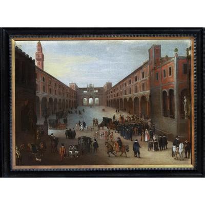 Vers 1590, The Palazzo Vecchio et Piazzale degli Uffizi à Florence