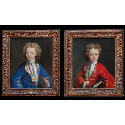 Une Paire De Portraits d'Un Jeune Homme Vers 1710