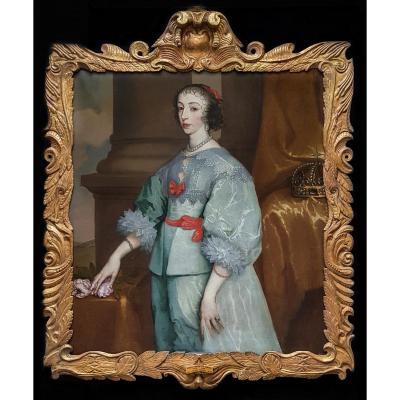 Vers 1650 Portrait De La Reine Henrietta Maria (1609-1669); Provenance Manoir