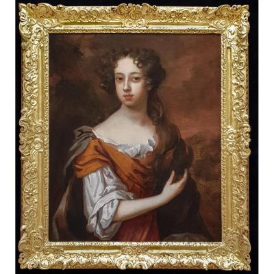 Portrait Of Lady Leigh (1658-1705) C.1679; Circle Of Peter Lely (1618-1680)